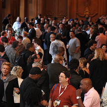 Convention attendees gather
